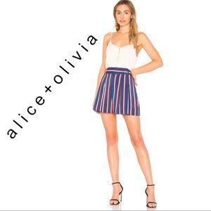 Alice + Olivia Scarlet short in collegiate stripe